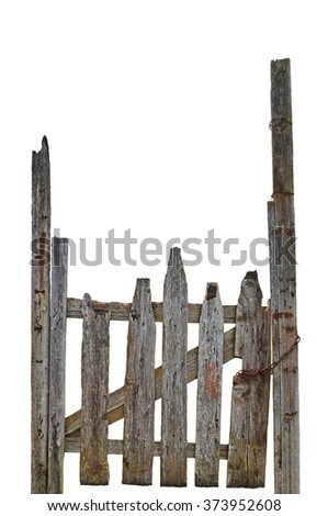 Old Aged Weathered Rural Ruined Grey Wooden Gate, Isolated Gray Wood Garden Fence Entrance Gateway, Large Detailed Vertical Closeup