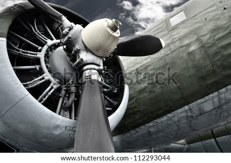 Old aircraft close up - stock photo