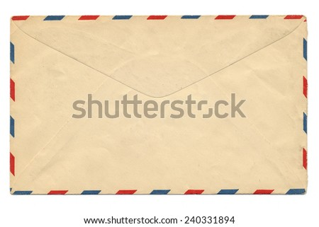 Old Airmail Envelope isolate on white background - stock photo