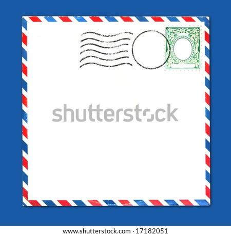 Old Airmail Parcel Type Envelope With Postal Stamp and Stripes Distressed and Grungy - stock photo