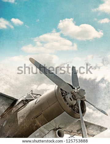 Old airplane close up - stock photo