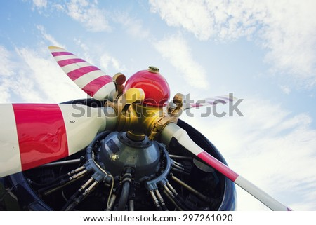 Old airplane engine fan close up - stock photo