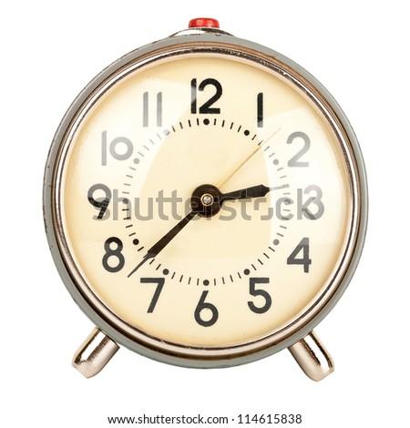 Old alarm clock isolated on white background - stock photo