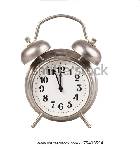 Old  alarm clock on a white background - stock photo