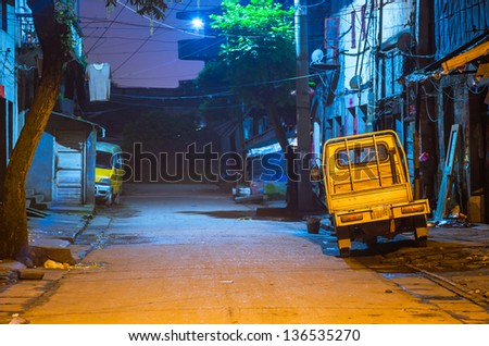 old alley in Fuzhou city at night, Jiangxi Province, - stock photo