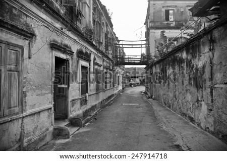 Old Alleyway in Black and White - stock photo