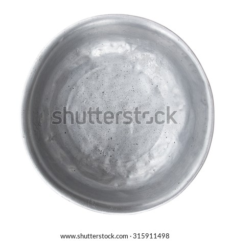 old aluminium bowl, clipping path included - stock photo