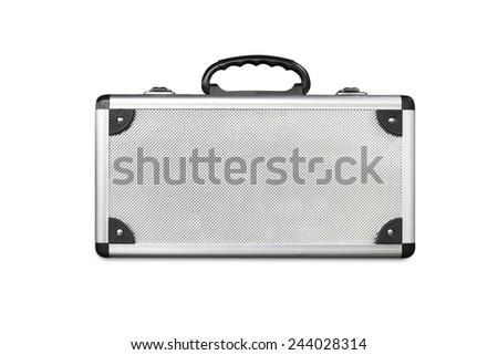 Old aluminum bag on white background. - stock photo