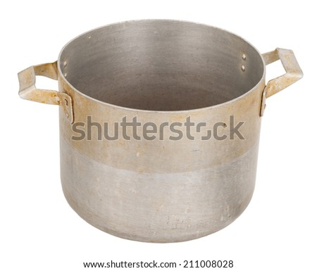 Old aluminum pan - stock photo