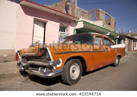 old american car in Trinidad Cuba/old american car/ - stock photo