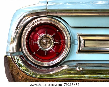 Old American car, tail light detail / Oldtimer/ Classic Vintage car/ Vintage car / Old car / Automobile/  Ford Galaxie 500 - stock photo