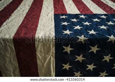 Old American flag background for Memorial Day or 4th of July or Dependence Day - stock photo