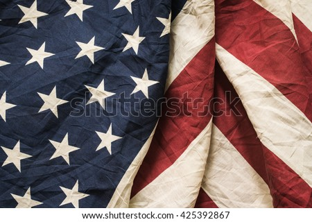 Old American flag background for Memorial Day or 4th of July or Dependence Day, effect by vintage style, vintage image, vintage tone
