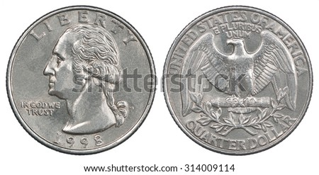 Old American quarter dollar coin Liberty 1998 - stock photo