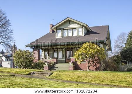 old American suburban house - stock photo