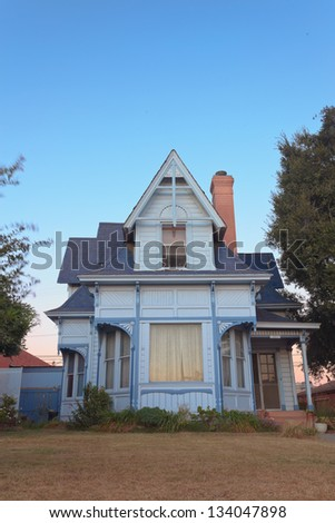 Old american victorian house at sunset. USA. California. - stock photo