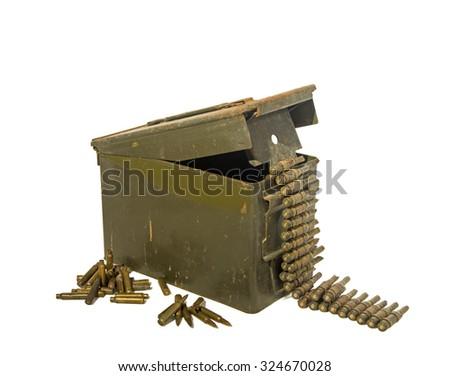 Old ammunition box with ammunition on the white background isolated. - stock photo
