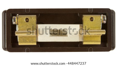 Old 30 Amp Fuse Wire Holder isolated on white with clipping path