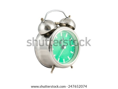 old analog clock with green face on white background - stock photo