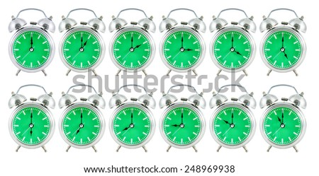 old analog clock with green face on white background, 24 hours - stock photo