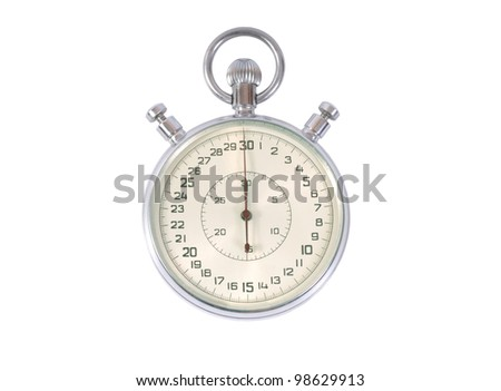 Old analog stop watch isolated on white