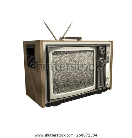old analog tv isolated on white background - stock photo