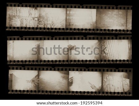 old analogue film strips - stock photo