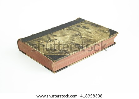 Old ancient book with isolated white background