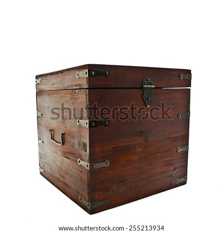 Old ancient chest.  Isolated on white background - stock photo
