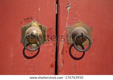 Old Ancient Chinese door in Beijing, China - stock photo