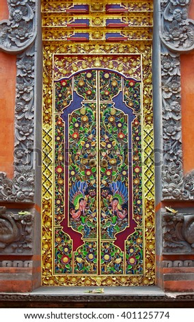 old ancient temple decorated door in Bali, Indonesia