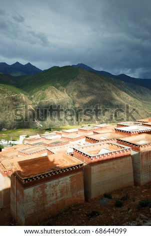 Old ancient tombs and monk dormitories in a Tibetan Monastery, Zhongdian, Lijiang, Yunnan province, China - stock photo