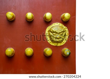 Old Ancient wooden door Chinese style with copy space - stock photo