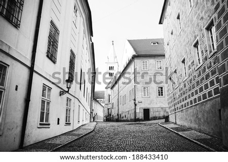 Old and classical street - built with ancient stone in europe - czech republic  - stock photo