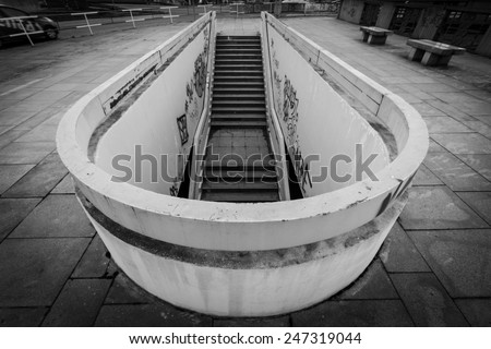 Old and dark steps in Prague. Wide angle image with added corner darkening  - stock photo