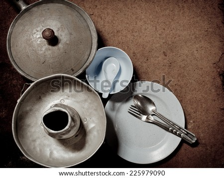 Old and dirty aluminum ware with grunge background. - stock photo