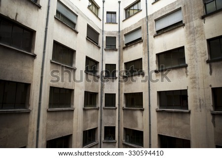 Old and dirty concrete building in Bordeaux, France - stock photo