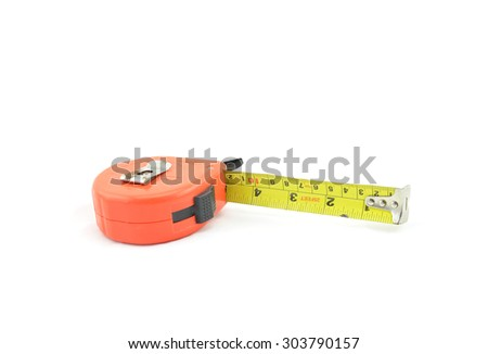 old and dust and rusty tape measure isolated white background