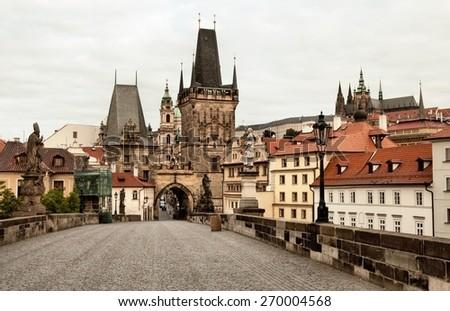 Old and historic Charles Bridge in Prague - stock photo