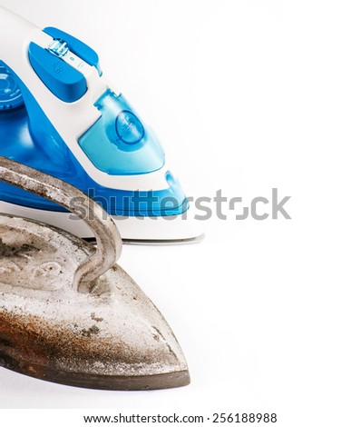 Old and modern irons - stock photo