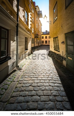 Old and narrow town street in Gamla stan, Stockholm, Sweden, Scandinavia, Europe - stock photo