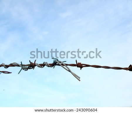 Old and new barbed wire fence twisted together and repaired, symbolism for strength, or the fight will go on.