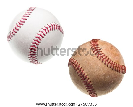 old and new baseballs with red stitching isolated on white background - stock photo