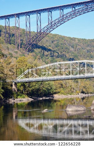 Old and new - Bridges on New River in West Virginia - stock photo
