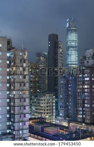 Old and new buildings in Hong Kong  - stock photo