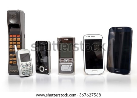 Old and New Design Mobile Phone on white background. - stock photo
