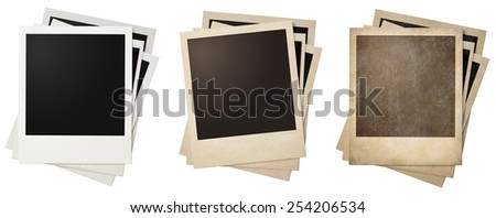 old and new polaroid photo frames stacks isolated - stock photo