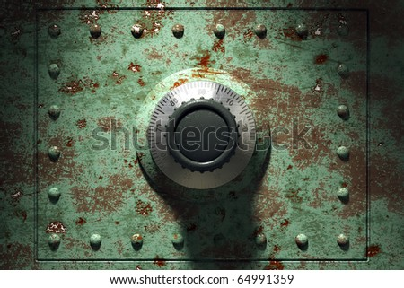 Old and rusty bank vault, 3d render - stock photo
