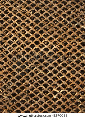 Old and rusty metal grid background texture