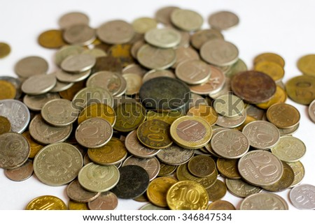 Old and rusty Russian coins.  Scattered coins in full-frame background.